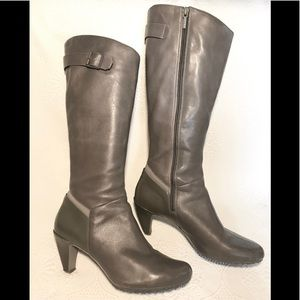 TSUBO gray leather wide calf tall boots
